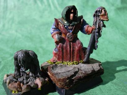And this is the other chaos sorcerer I got. Note the treebark base. I personally think this is among the best man-size work I did with enamels during my 'double drybrush' period.