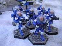 The organisation is based entirely on figure availability and resulted in these 6-man squads (5 troopers + missile launcher).