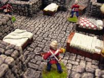 Redcoat guards spring to action.